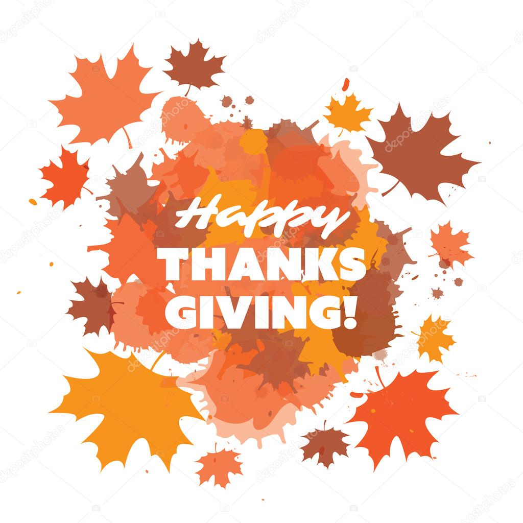 Happy Thanksgiving Card Design Template With Scattered Fallen Autumn