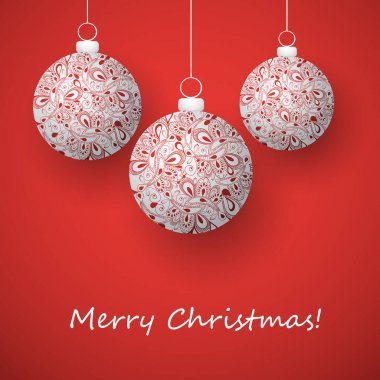 Red Merry Christmas Card with Ornamentally Patterned Silver Grey Hanging Christmas Balls
