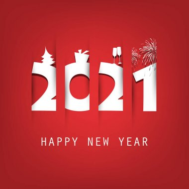 Simple Red and White New Year Card, Cover or Background Design Template With Christmas Tree, Gift Box, Drinking Glasses And Fireworks Icons - 2021 icon