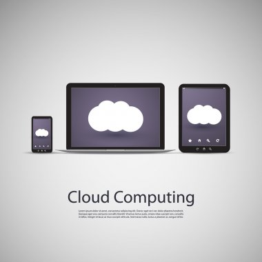 Cloud Computing and Networks Concept with Laptop Computer, Tablet and Smart Phone