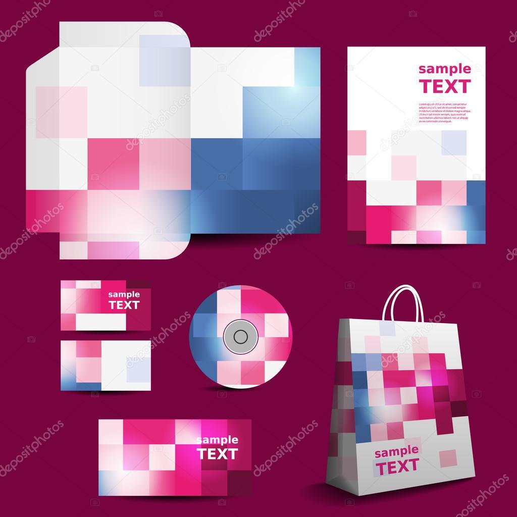 plantilla de papelería, diseño de imagen corporativa con patrón a ...