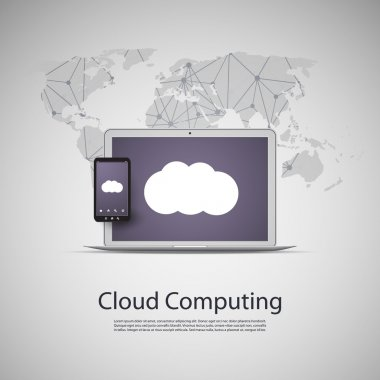 Cloud Computing and Networks Concept with Laptop Computer and Smart Phone