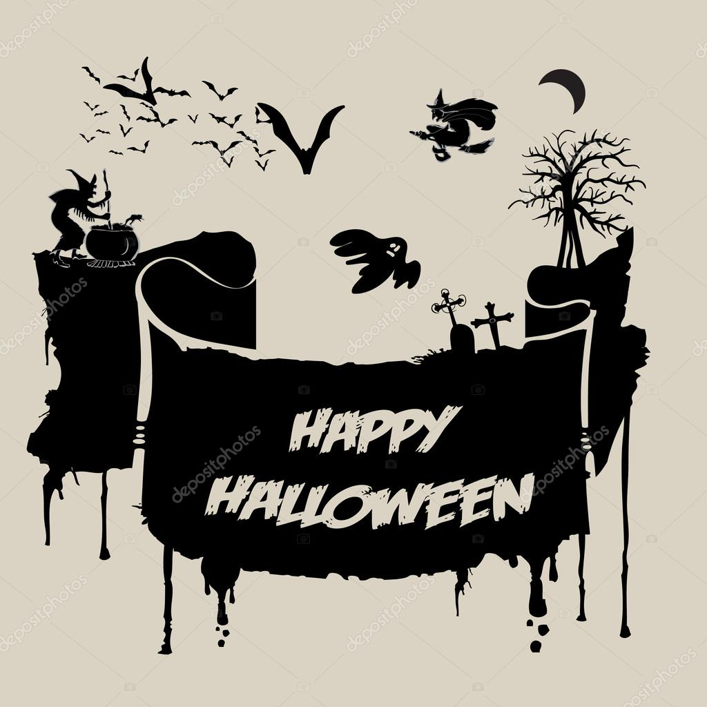 abstract halloween background various spooky creatures in the dark