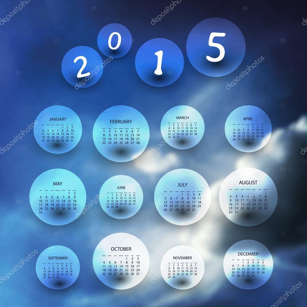 calendario 2015 - ilustración de plantilla con fondo borroso ...