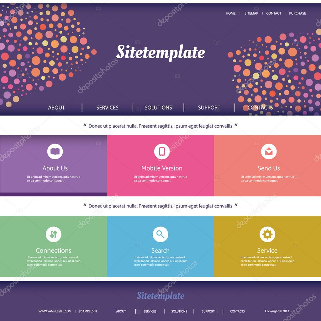 website template with abstract header design colorful dotted