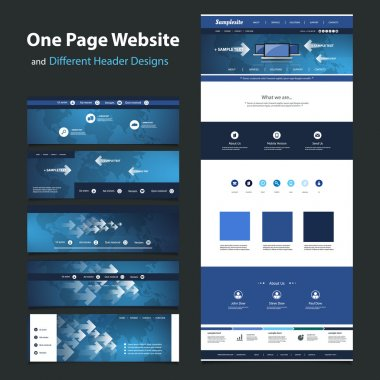 One Page Website Design Template and Different Header Designs - Internet, Worldwide Connections, Global Networking
