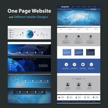 Global Network Connection - One Page Website Template and Collection of Different Header Designs