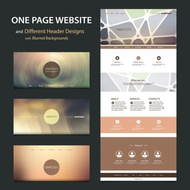 One Page Website Template and Collection of Different Header Designs with Blurred Backgrounds