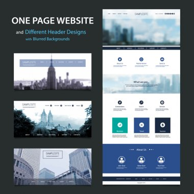 One Page Website Template and Different Header Designs with Blurred Background