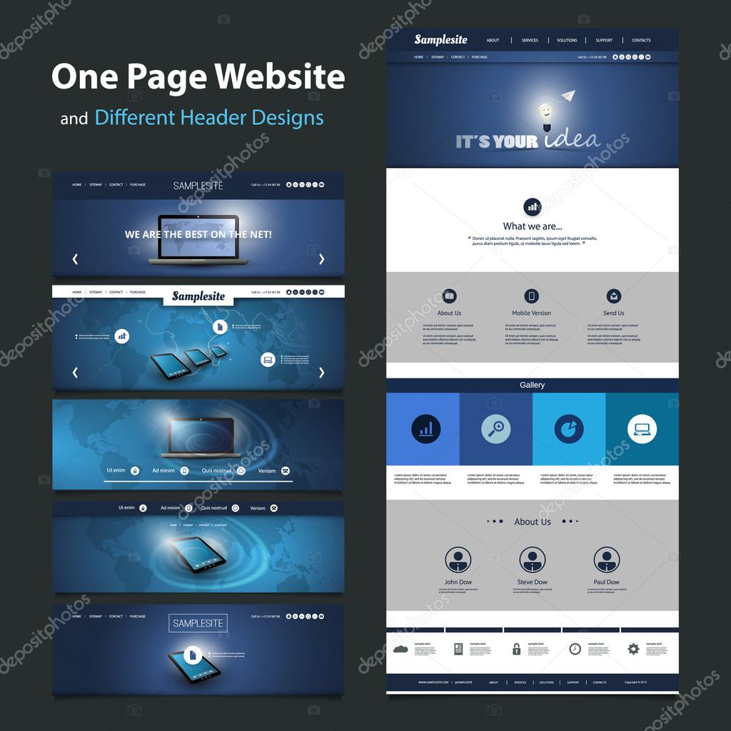One Page Website Template and Different Header Designs - Internet Concept, Mobile Communication, Worldwide Connections, Global Networking
