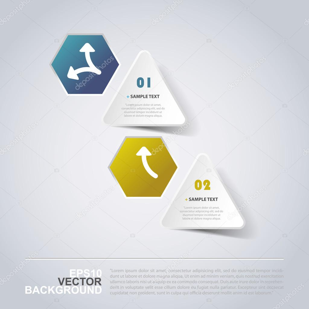 Minimal Paper Cut Infographic Design - Triangles and Hexagons