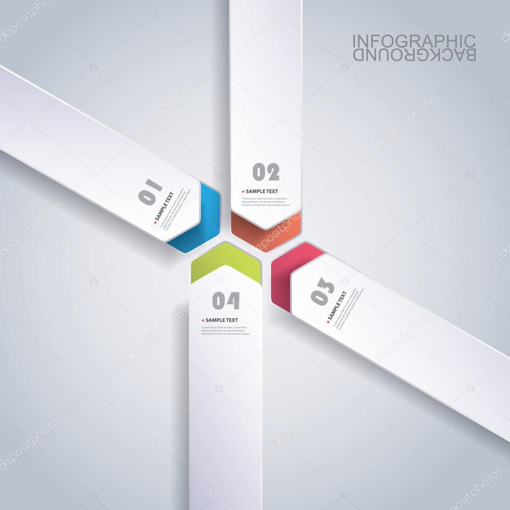 Colorful Paper Cut Infographics Design - Rounded Arrows