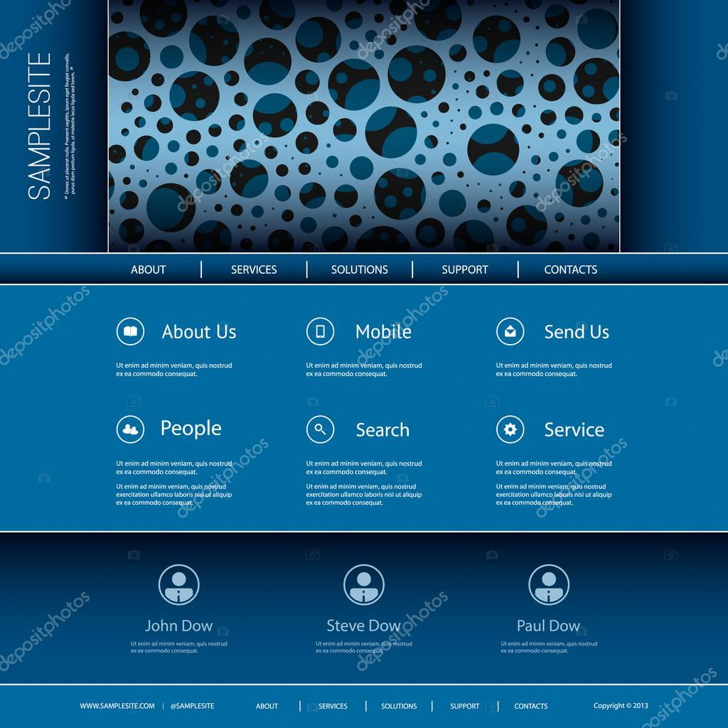Website-Template mit abstrakten Header Design - blaue sprudelnden ...