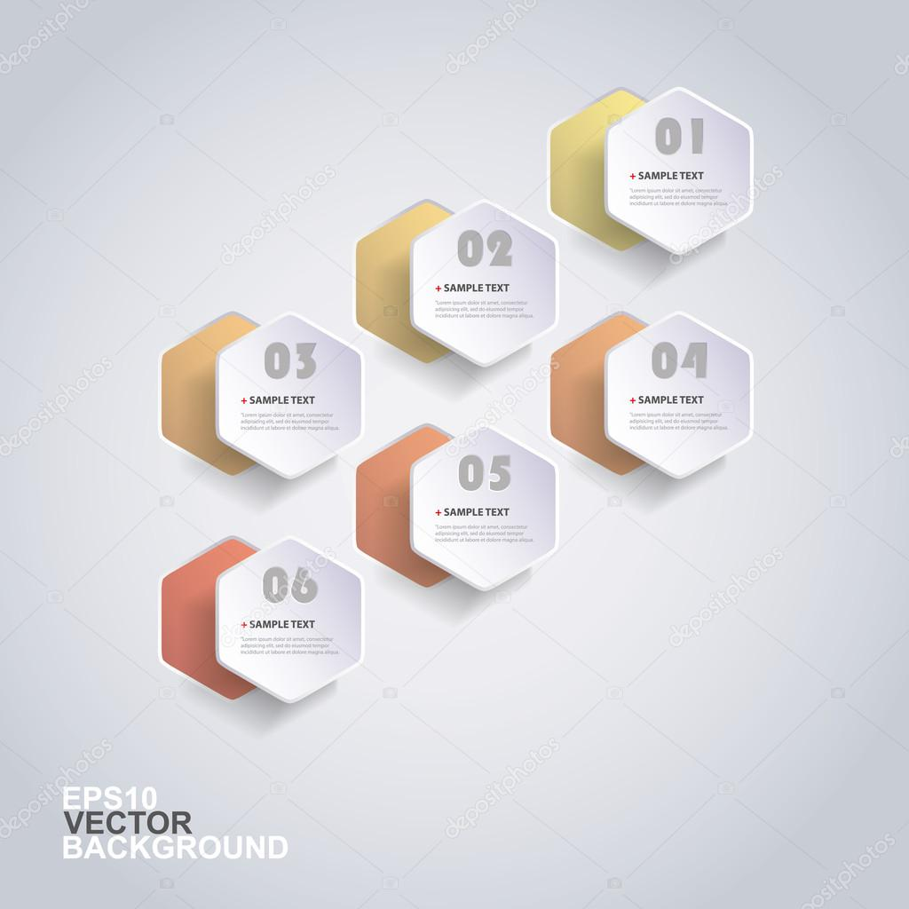 Colorful Paper Cut Infographics Design - Rounded Hexagons