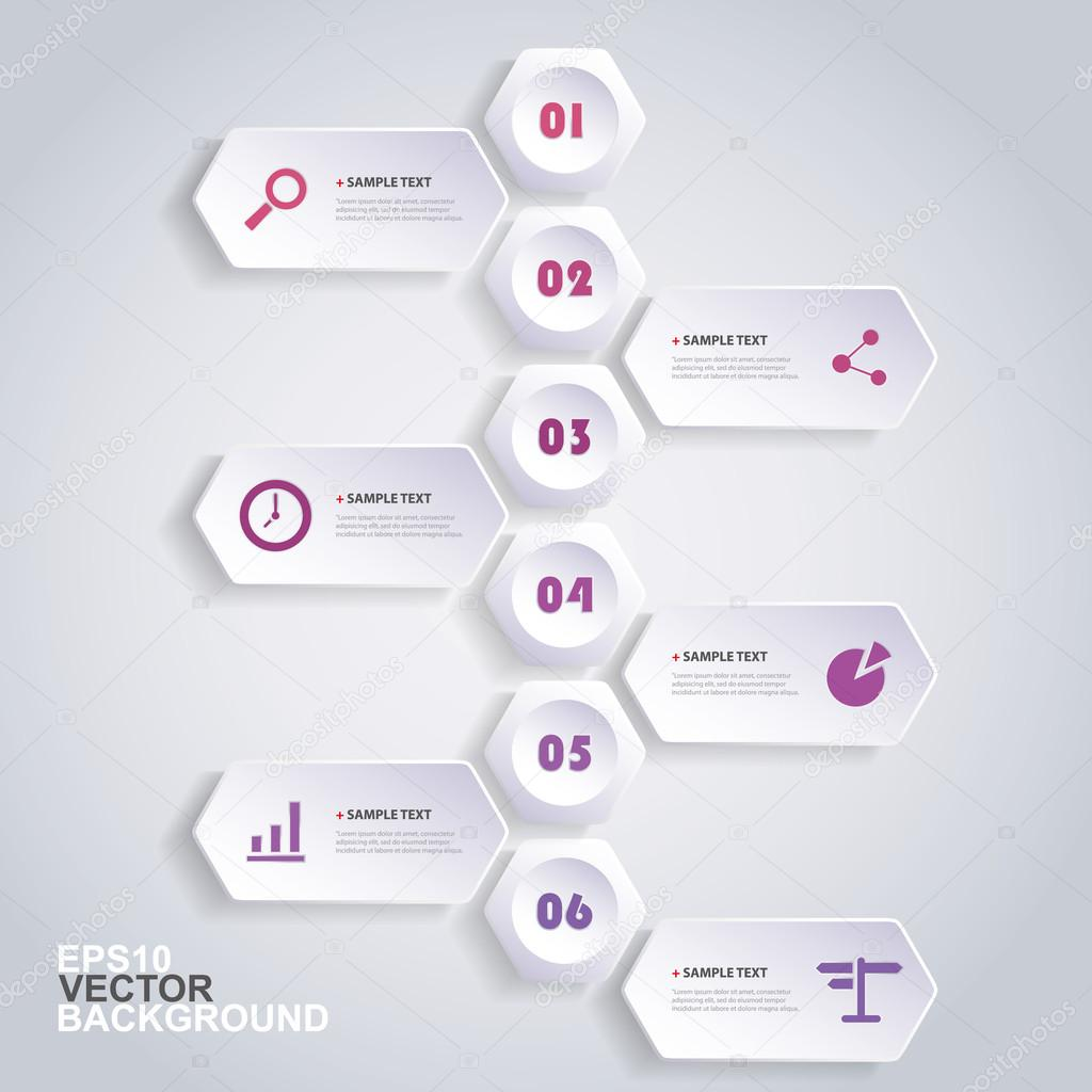 Infographic Concept with Hexagons - Flow Chart Design - Timeline