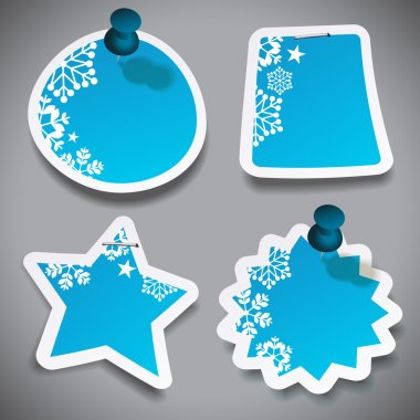 Paper Cut Speech Bubbles with Snowflakes
