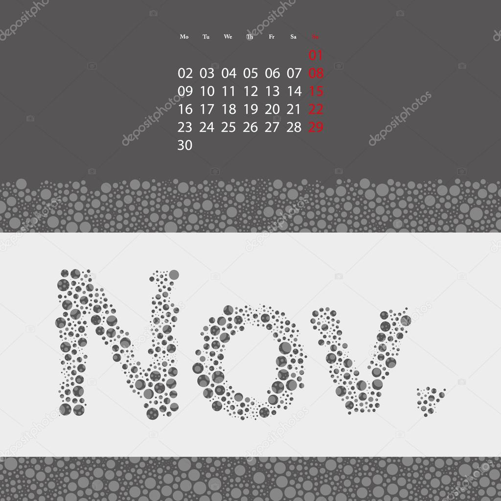 Abstract Dotted Monthly Calendar Design Template in Seasonal Colors ...