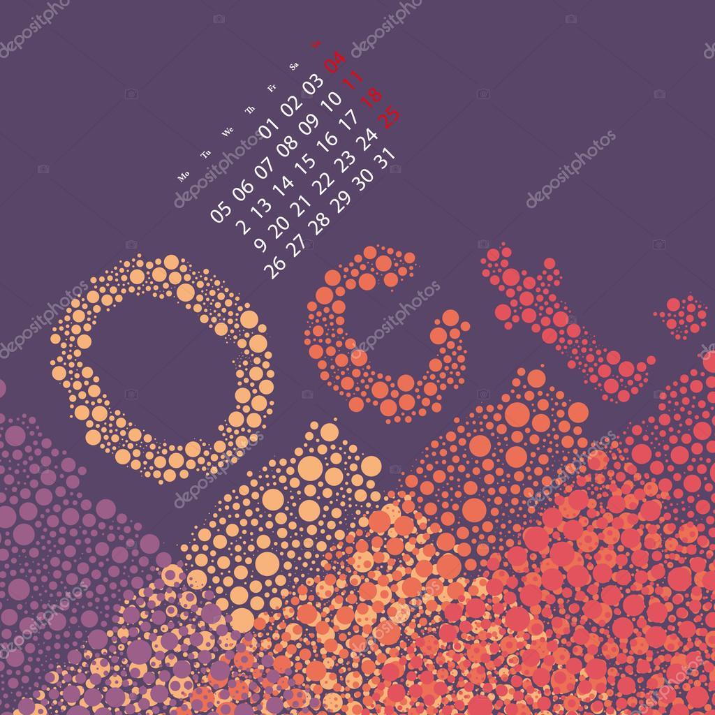 Abstrakt punktiert monatlichen Kalender-Design-Vorlage, die in ...