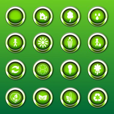 Green Shiny Eco Logos, Icons