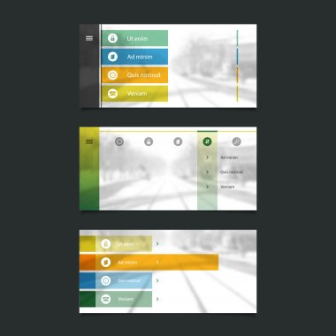 Web Design Elements: Minimal Header Design with Blurred Background and Icons