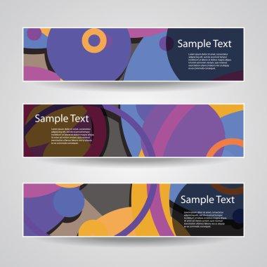 Colorful Vector Set of Three Header Designs with Dots, Circles, Rings