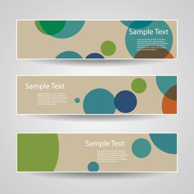 Colorful Vector Set of Three Header Designs with Dots, Circles