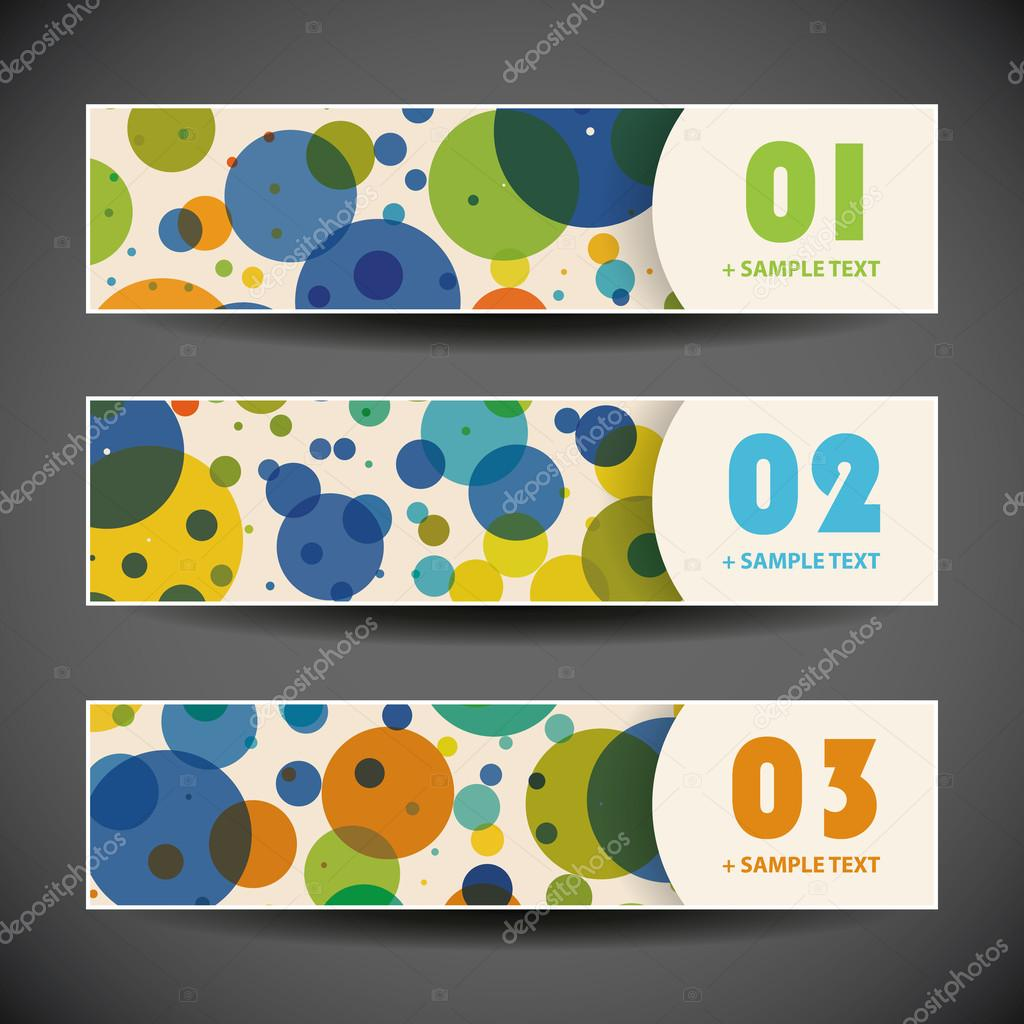 Set of Three Colorful Numbered Horizontal Headers or Banners with Abstract Design for Web Site Announcement, Blog or Personal Home Page - Template Illustration in Freely Scalable and Editable Vector Format stock vector
