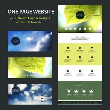 One Page Website Template and Different Header Designs with Blurred Cloudy Sky and Leaves Image Backgrounds