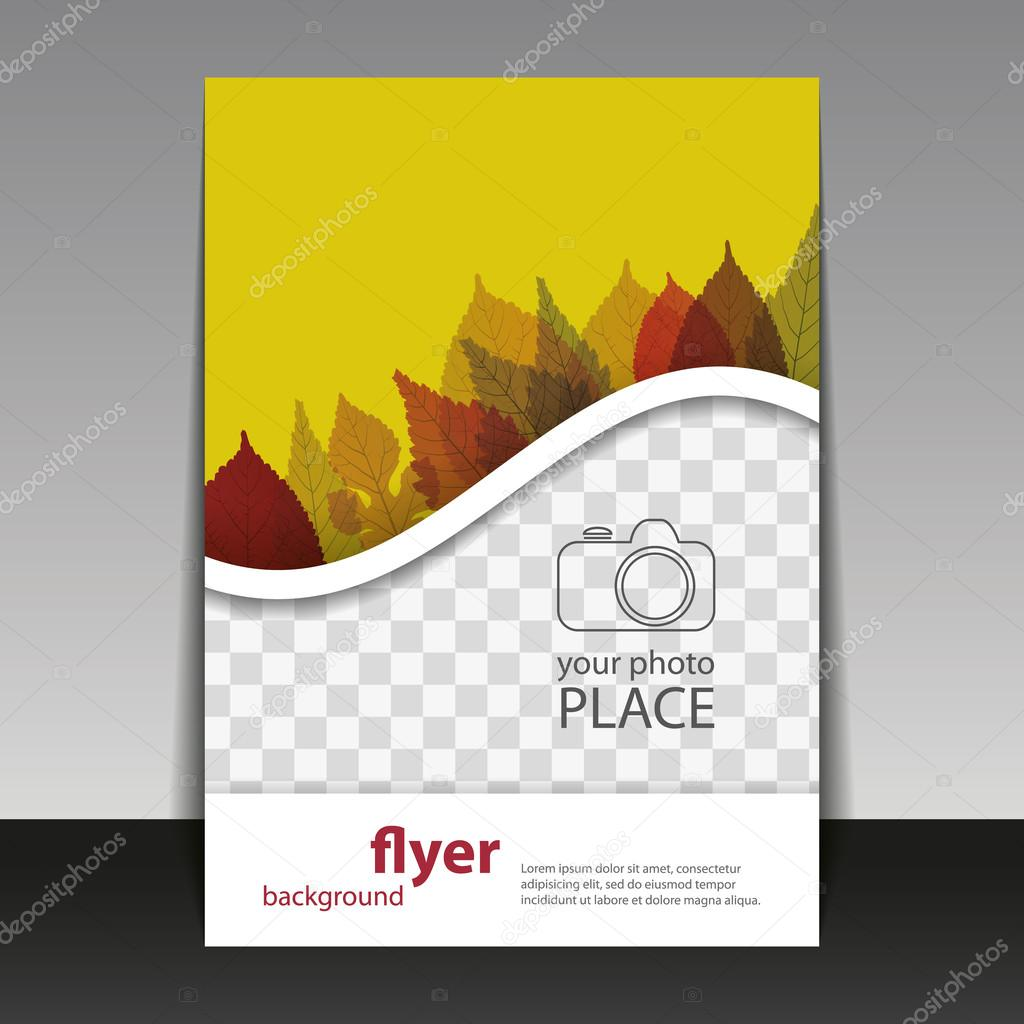 Flyer or Cover Design with Place for Your Photo - Autumn Leaves