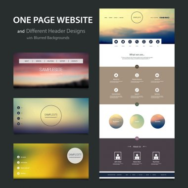 One Page Website Template and Different Header Designs with Blurred Sunset and Cloudy Sky Backgrounds