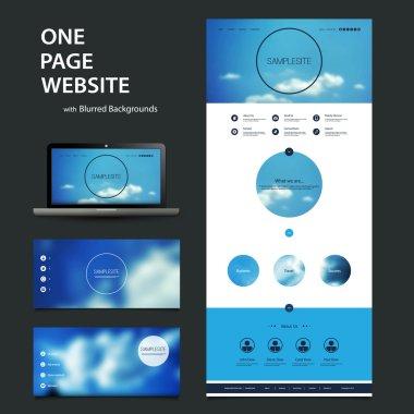 """Картина, постер, плакат, фотообои """"шаблон сайта на одну страницу и различные схемы заголовка с размытым фоном """", артикул 60702105"""