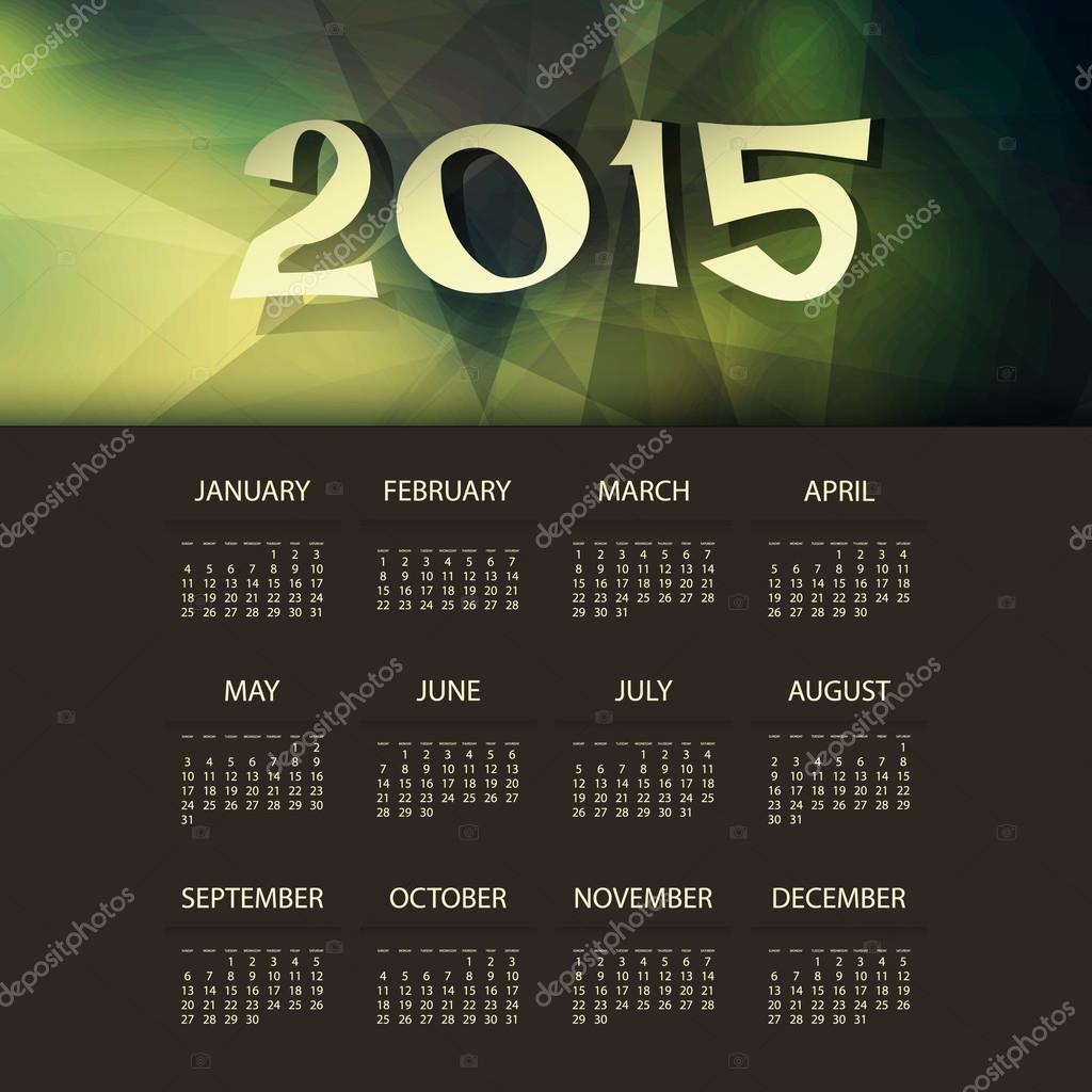 Calendario 2015 plantilla con fondo geométrico Triangular verde y ...