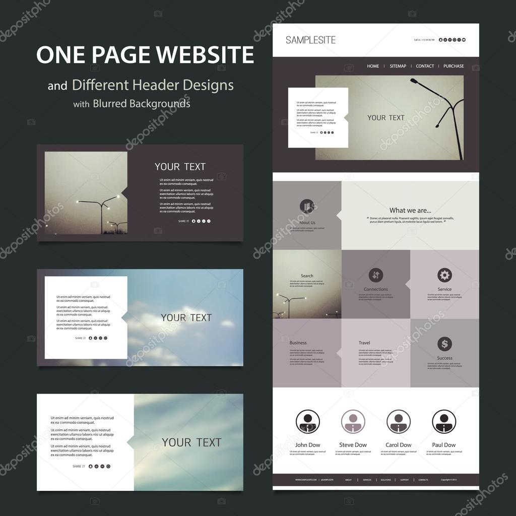 One Page Website Template and Different Header Designs with Blurred ...