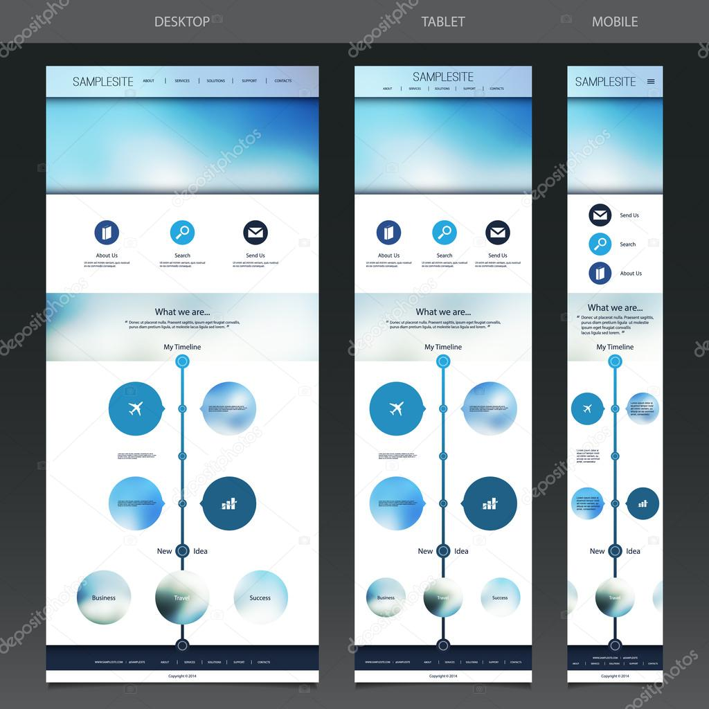 One Page Website, Responsive Flow Chart and Diagram Template with ...