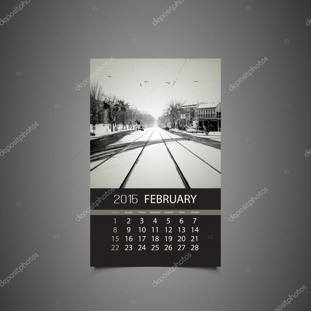 Calendar February 2015 Template Stock Vector C Bagotaj 61317887