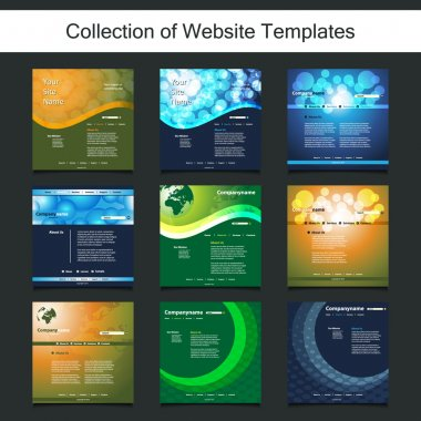 Collection of Website Templates for Your Business - Nine Nice and Simple Design Templates with Different Patterns and Header Designs