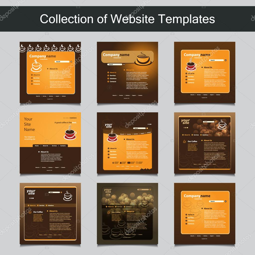 Collection of website templates for your business nine nice and collection of colorful coffe themed website templates with abstract designs editable vector format vector by bagotaj cheaphphosting Image collections
