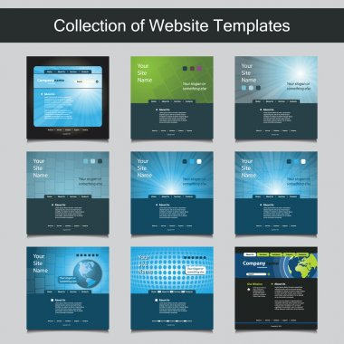 Collection of Website Templates for Your Business - Nine Nice and Simple Design Templates with Different Patterns and Header Designs - Business, Blue, Corporate Identity