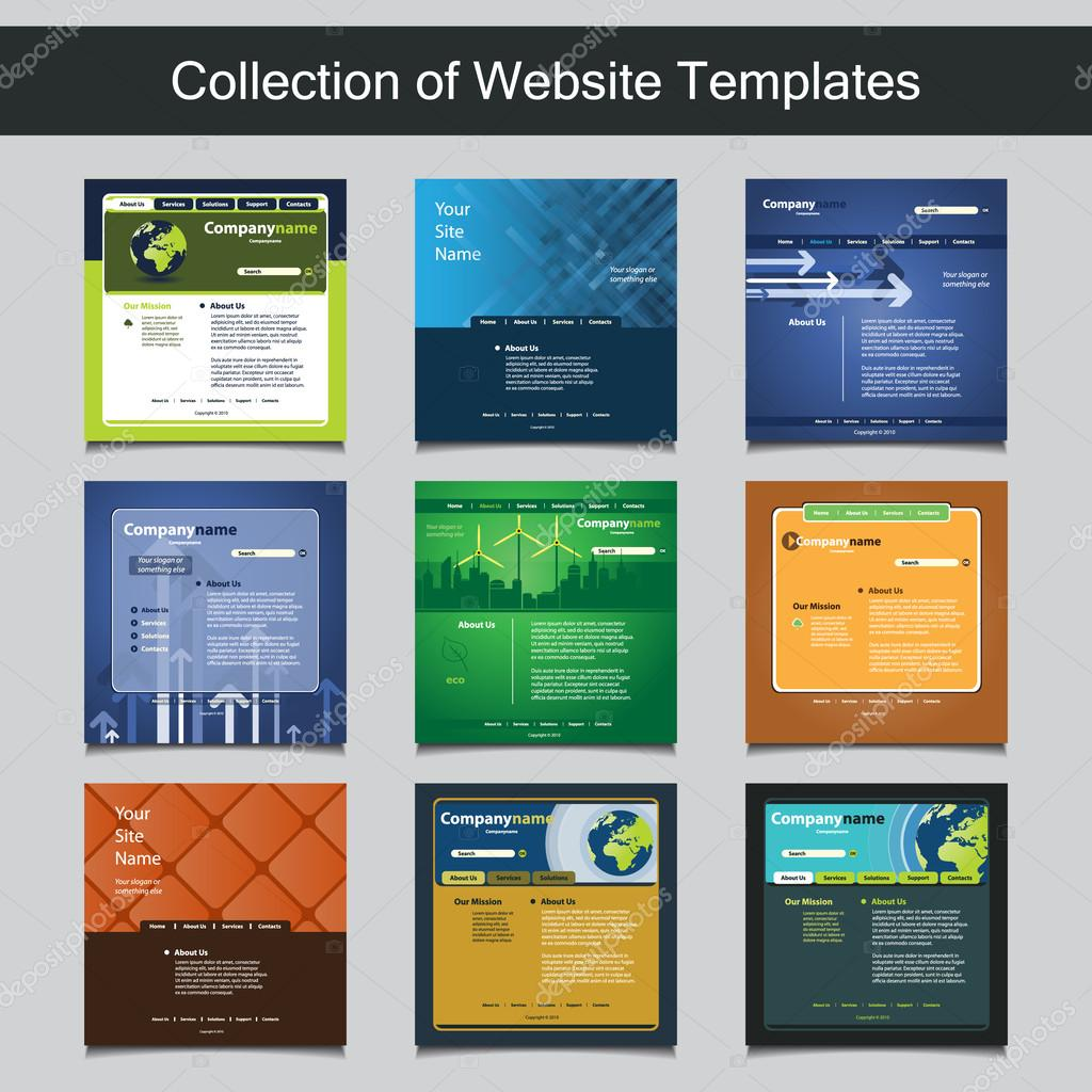 Collection of Website Templates for Your Business - Nine Nice and Simple Design Templates with Different Patterns and Header Designs - Green, Eco, Business
