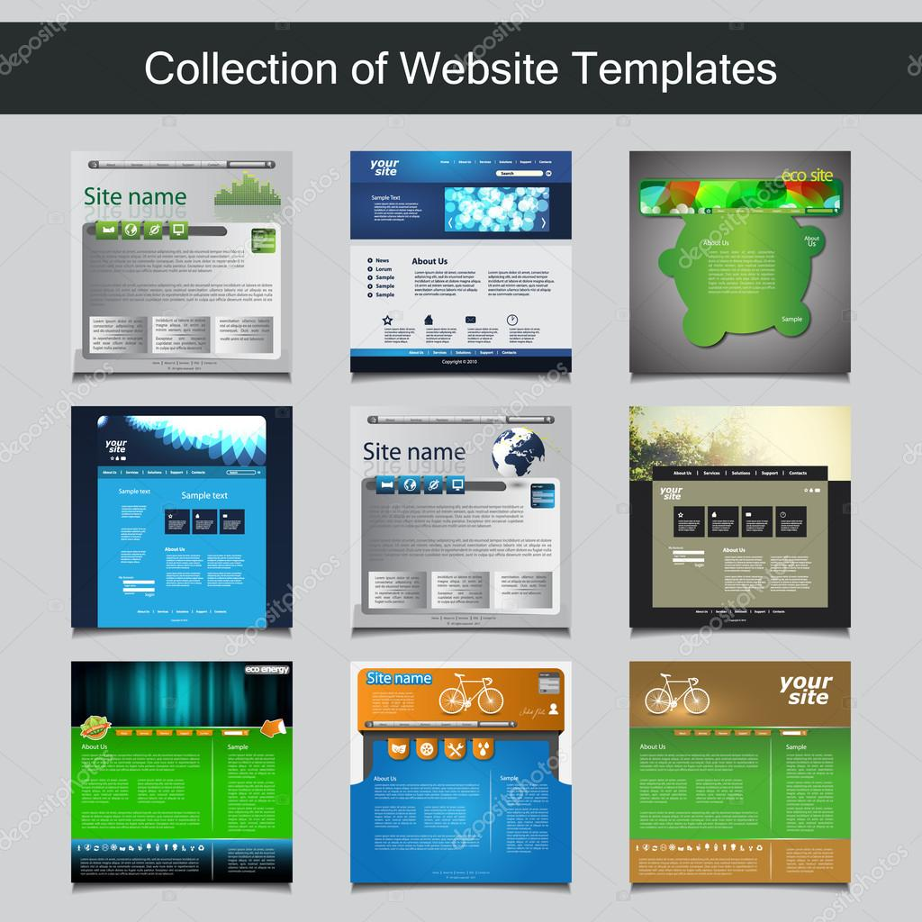 Collection of website templates for your business nine nice and collection of colorful website templates with abstract designs editable vector format vector by bagotaj wajeb Images