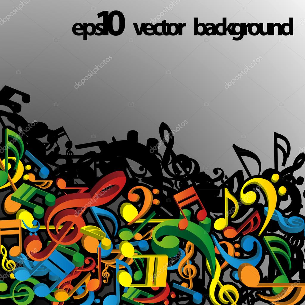 3D Colorful Musical Notes Concept Background