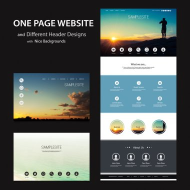 One Page Website Template and Different Header Designs with Blurred Backgrounds - Nature Concept, Cloudy Sky, Sunset at The Hilltop, Sea Water Surface
