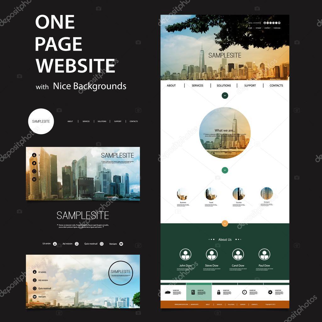 Eine Seite Website-Vorlage und andere Kopf-Designs mit Stadtansicht ...