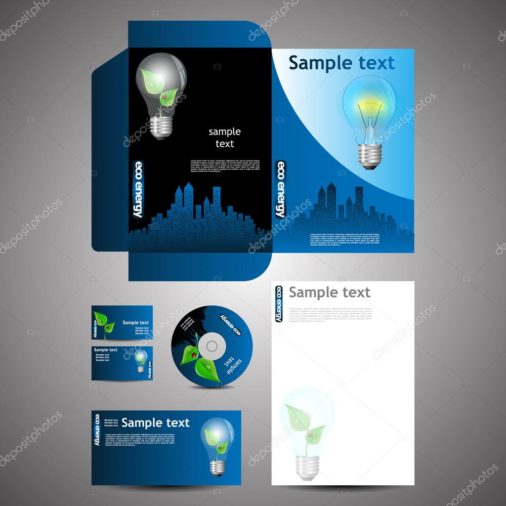 Colorful abstract stationery template and business set creative blue modern eco stationery template design layout business set disk with natural environmentally friendly green energy concept theme light bulb and magicingreecefo Gallery