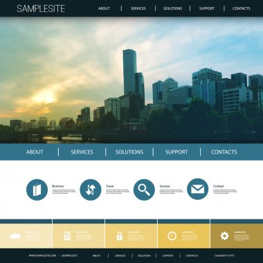 Website Design Template for Your Business with City Skyline Background