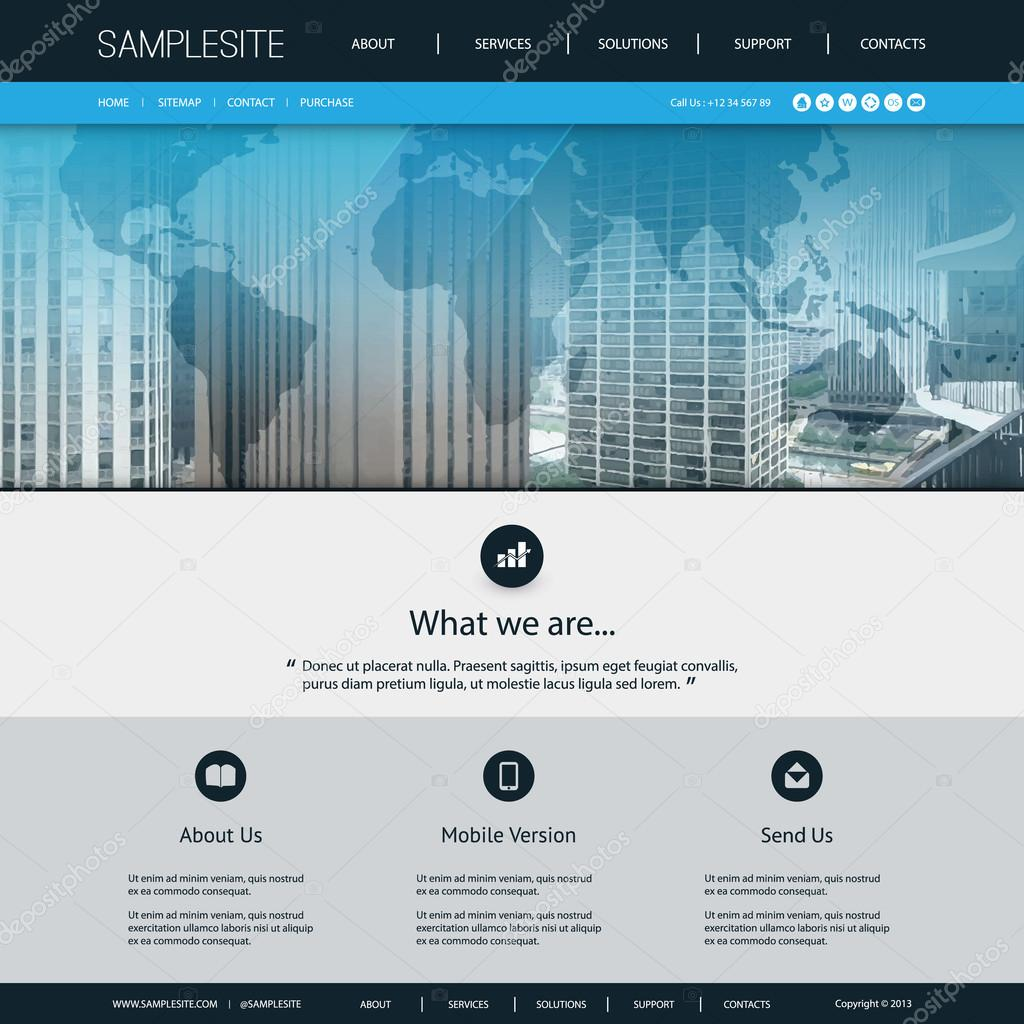 Website Design Template For Global Business With Transparent - Us vector map on transparent back