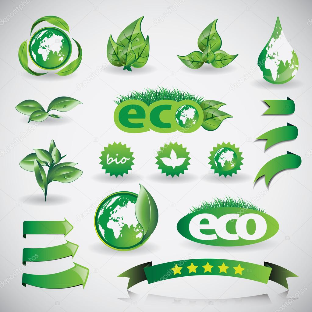 Green Eco Shiny Concept Icons, Design Template Collection