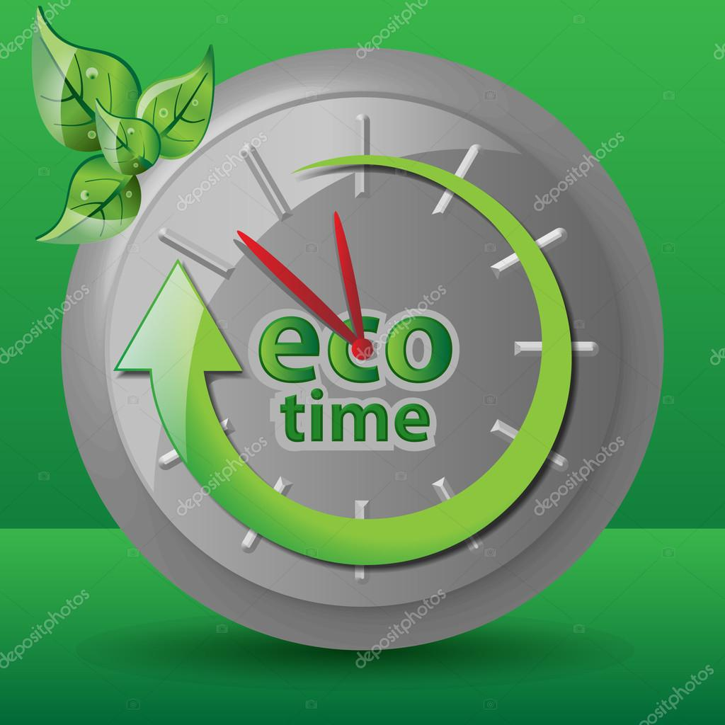 Green Ecological Clock Concept