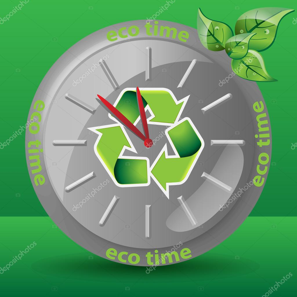 Ecological Clock Concept, Recycling, Nature, Environmentally Friendly Sustainable Development