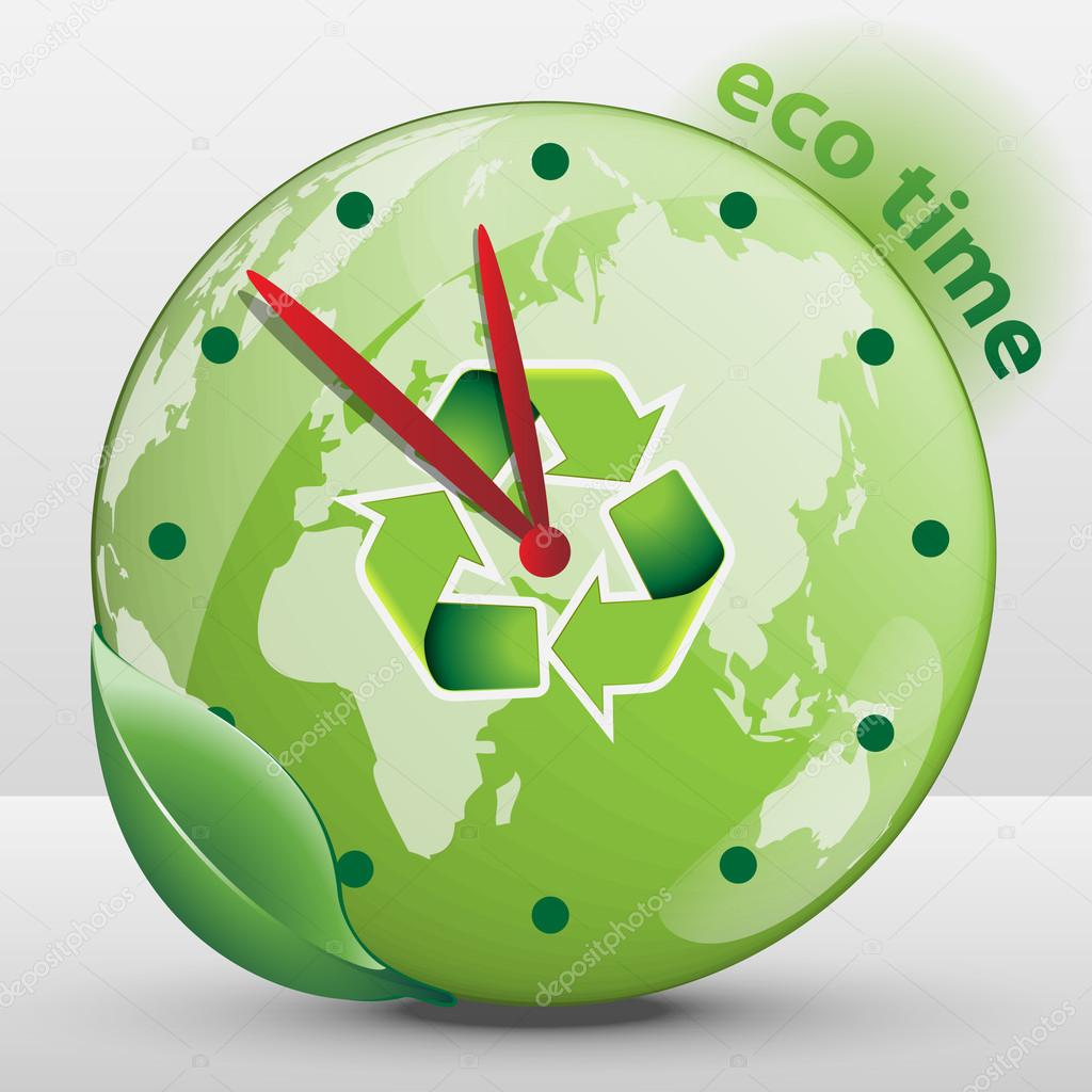 Ecological Clock Concept - Global Warming, Climate Change, Running Out of Time - Save the Environment with Friendly Renewable Energy and Sustainable Development